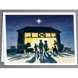 Manger in the barn x 5 greeting cards