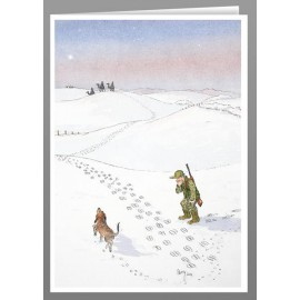 Footprints in the snow, greeting cards