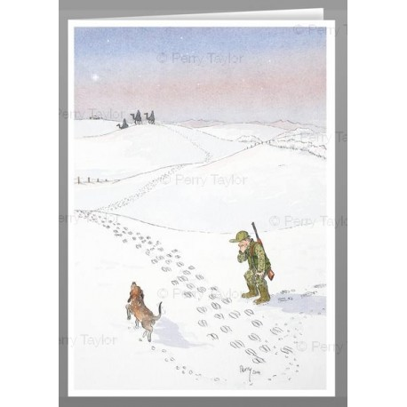 footprints in the snow, x5 greeting cards