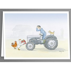 Tractor and presents greeting cards