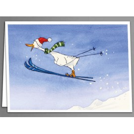 Duck ski jump greeting card