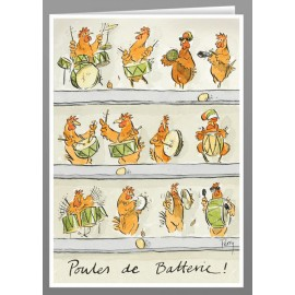 Poules de Batterie greeting cards