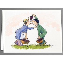 A kiss under the grape bunch greeting cards