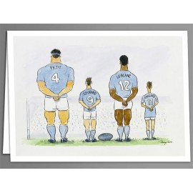 Rugby Players x 5 greeting cards
