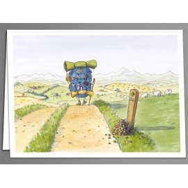 Pilgrim backpack greeting cards