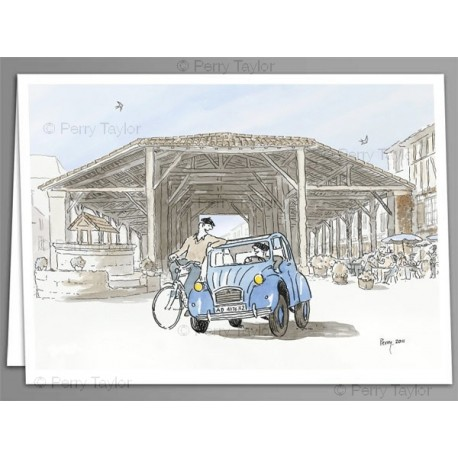 2CV Bassoues x 5 greeting cards