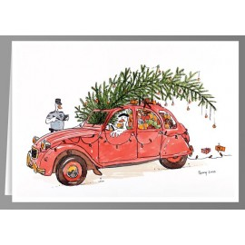 Red 2CV Christmas duck