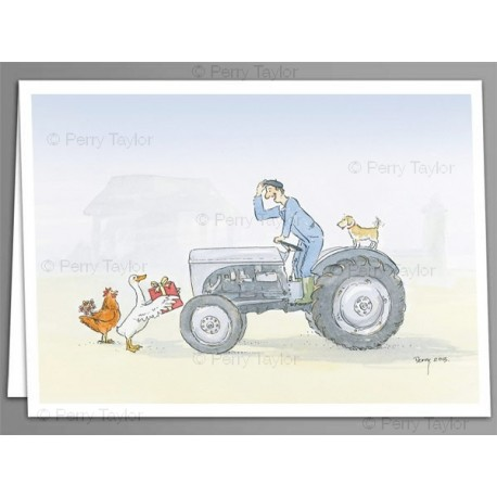 Tractor and presents x 5 greeting cards