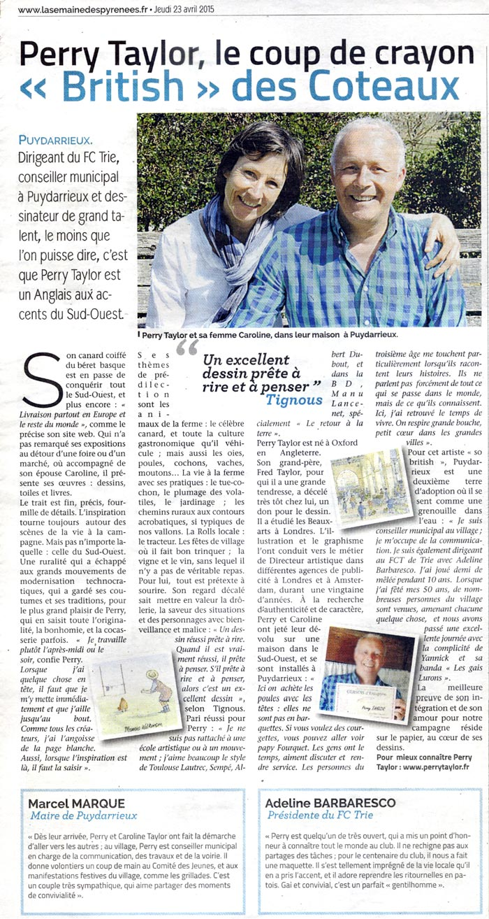 article in La semaine des Pyrenees 23 april 2015
